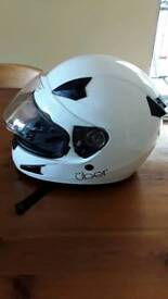 Motorcycle helmet,White,XL,with flip down tinted inner visor