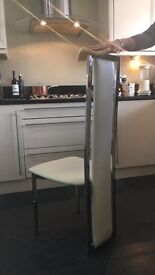 Gorgeous Faux leather and Chrome dining chairs x4