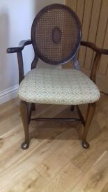 Vintage wicker back chair
