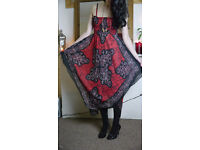 Red & Black Patterned Maxi Dress Skirt