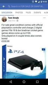 Ps4 slim 1tb conttoller and fifa 18 and don bradman
