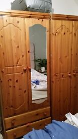 2 oak wardrobes in excellent condition with mirror and 2 drawers