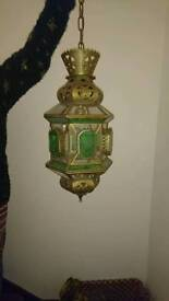 2x glass and brass ceiling lights