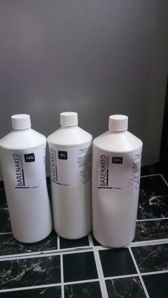 Bare Naked Spray Tan Solution - 2 x 14 % 1 x 8% - 1000ml - Brand New