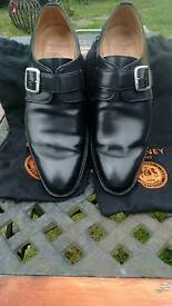 Joseph Cheaney & Sons Boxed Size 9 Black Moorgate Monk Strap Shoes Cost £260-