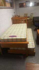 PINE SINGLE BED WITH GUEST BED UNDER LOVELY CONDITION COMES WITH 2 MATTRESS £160.00