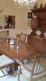 STAG DINING TABLE AND CHAIRS WITH MATCHING COFFEE TABLE AND PLANT STAND