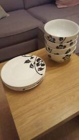 Flower design side plates and bowls