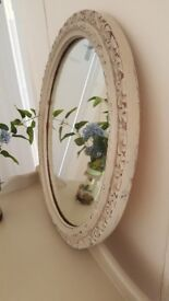 Shabby chic OVAL mirror finished in Annie Sloan chalk paint