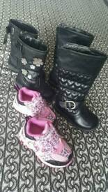 Girls boots / trainers bundle size 4
