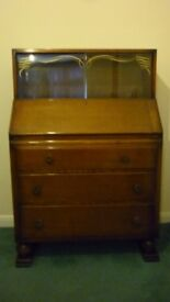 Vintage 1950's writing bureau with drawers and top cabinet, as it is or perfect for upcycling