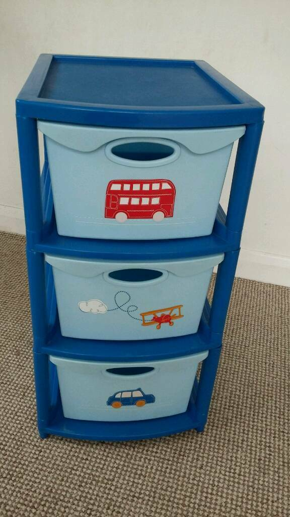 Set of plastic storage drawers