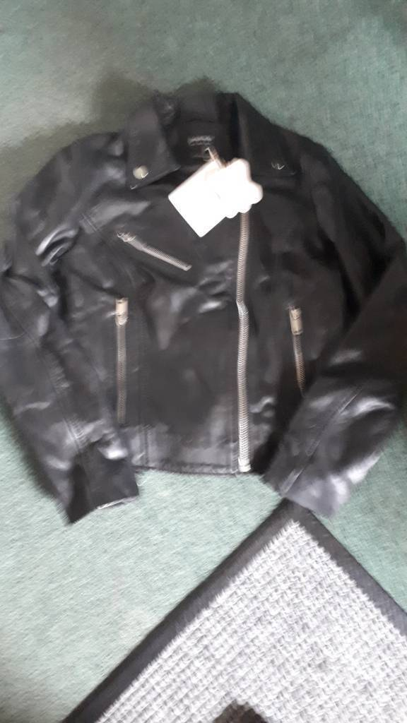 Ladies 100 Black Leather Bomber Jacket Size Small In Adamsdown