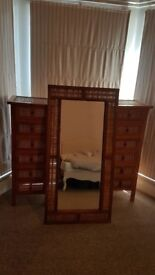 2 Teak bedside cabinets and mirror