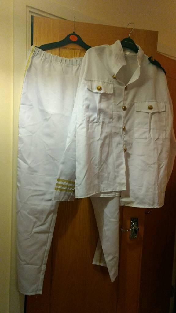 Adults Mens Sea Captain Sailor Ship Naval Officer Fancy Dress Costume Size M