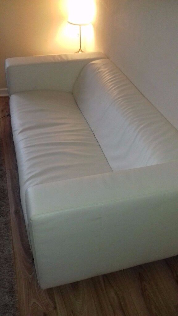 Two Seat Sofa Ikea Klippan With White Faux Leather Cover In