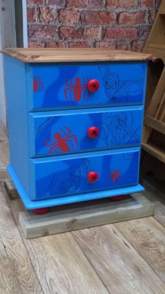 Solid Pine Spiderman Bedside Cabinet