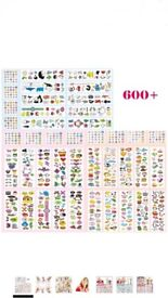 Kids Temporary Tattoos and Nail Glitter stickers 300+ Differnet Colorful Designs Tattoo