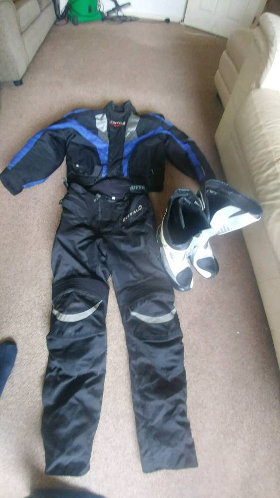 Motorcycle jacket and bottoms boots