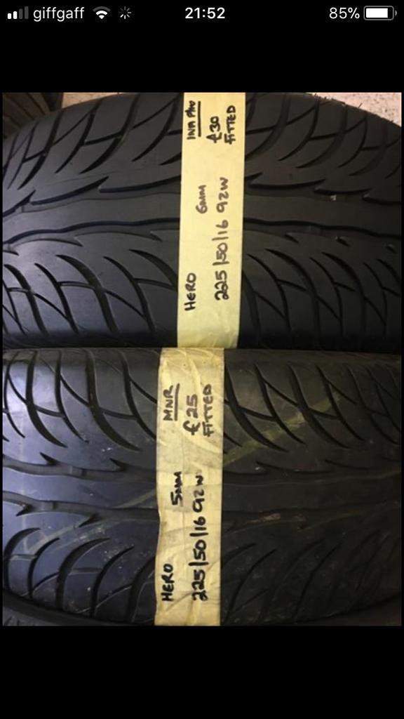 225/50/16 92W Hero pair of 2 tyres.