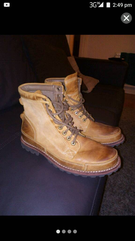 Mens timberland leather boots.9.