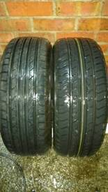 2 X 205 55 R16 TYRES, 8MM TREAD DEPTH, 1 YEAR OLD, EXCELLENT CONDITION