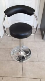 2 x black leather and silver stools