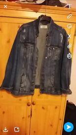 Blue denim ripped jacket size 16
