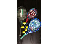 Selection of tennis rackets (two junior size) with racket covers and balls