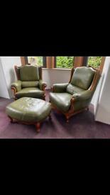 Sofa vintage green leather
