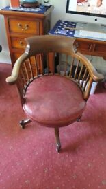 Captains Chair genuine antique, excellent worn condition, red leather