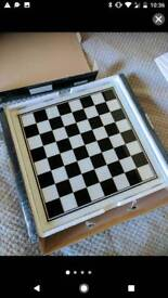 New, Never Used Glass Shot Chess Set