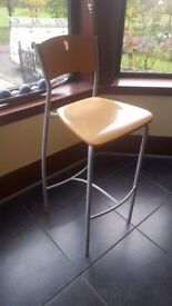 Wooden and steel bar stools