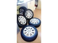 """4 15"""" VW ALLOY WHEELS AND WINTER TYRES"""