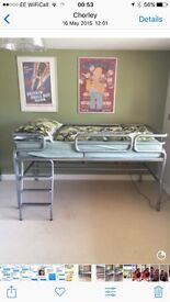 Jay-be medium raised metal bed with mattress. Suit up to 13 years. Excellent condition.