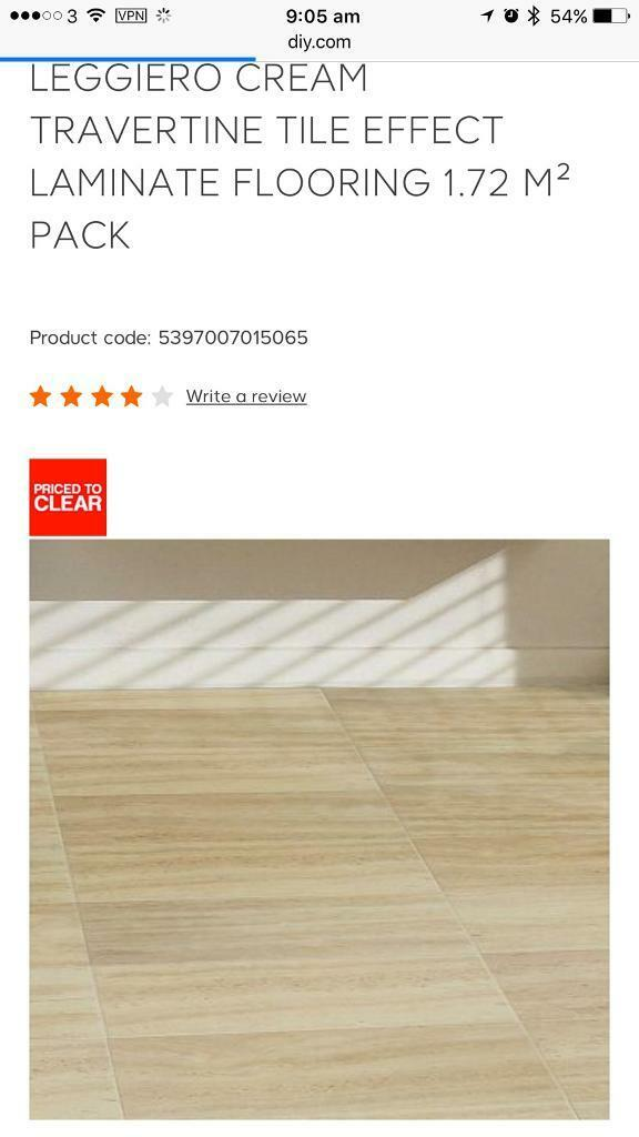 9 Packs Of Cream Travertine Tile Effect Laminate Flooring In