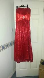 Strapless evening gown red sequin and diamonte