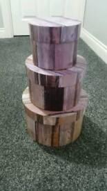 Next Wood Look Storage Boxes x 3