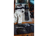 Snowboard, bindings, boots and accessories