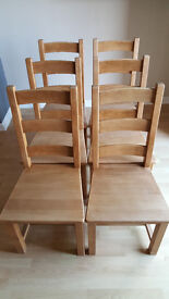 Six Solid Hardwood Dining Chairs. Well Made, High Quality, In Good Condition.