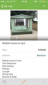 Static Mobile home for rent