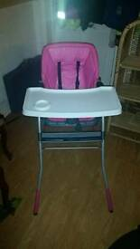 Chicco jazzy hot pink highchair
