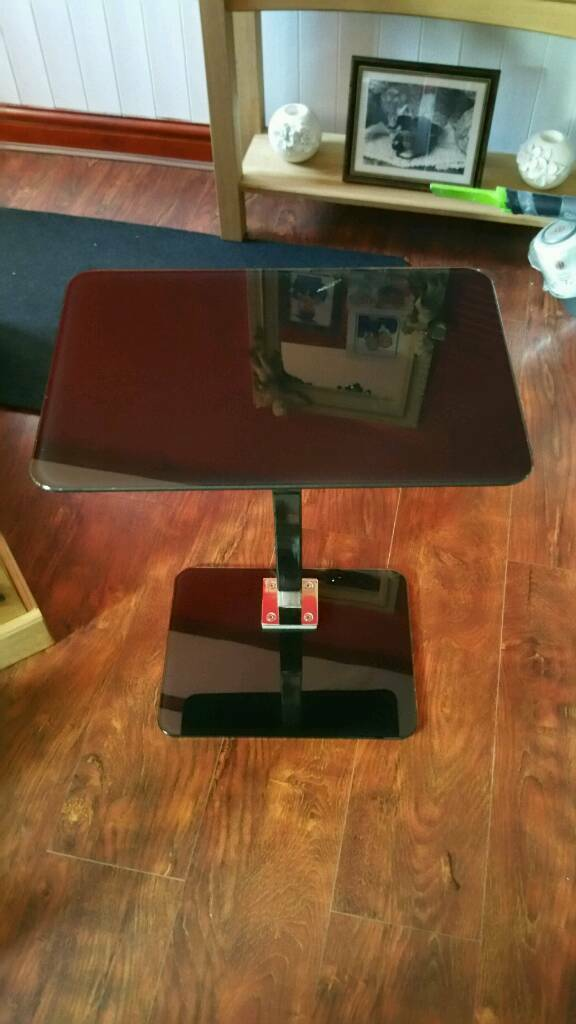 Black glass small table