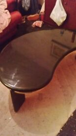Black high gloss cofee table with gold trin good condition, pick up only