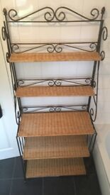 Iron and Wicker Shelving Unit - collection only