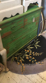 CHEST OF DRAWERS SOLID PINE RUSTIC GREEN FRENCH FARMHOUSE COUNTRY STYLE