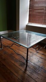 METALWORK & GLASS SQUARE COFFEE TABLE