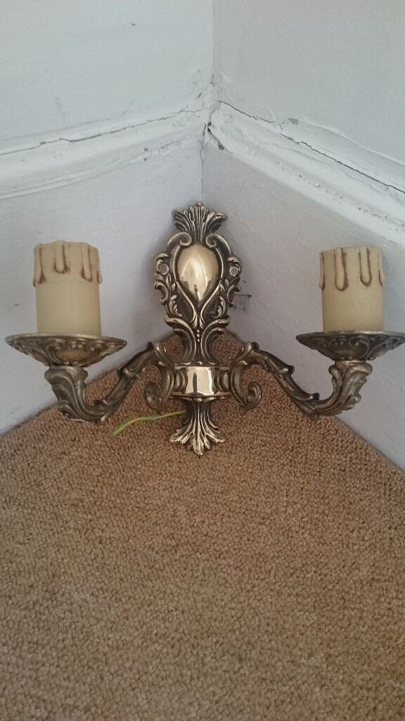 PAIR OF BHS FRENCH ANTIQUE STYLE BRASS DOUBLE WALL LIGHTS