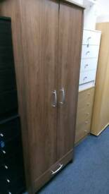 New walnut Effect 2 door 1 drawer wardrobe