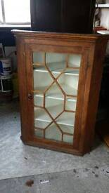 REDUCED PRICE Victorian high wall mounted corner display cabinet